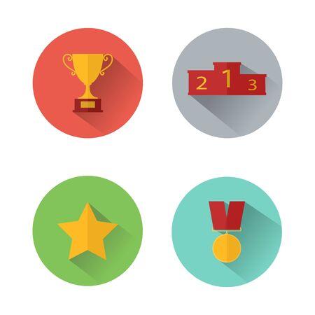 Award icons. Web site. Set of multicolor award icons. Vector illustration Archivio Fotografico - 131309444