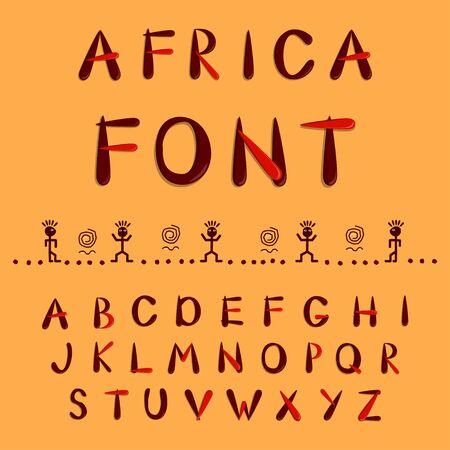 African ethnic alphabet. Capital cut out alphabet. Vector illustration