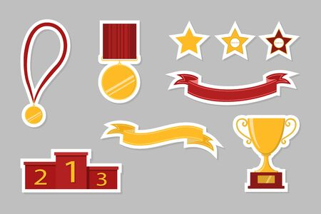 Award icons. Web site. Set of stickers. Vector illustration Banque d'images - 131309446
