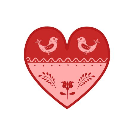Folk art. Heart shape in folk style with decorative elements. Vector illustration  イラスト・ベクター素材