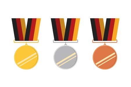 Award icons. Web site. Set of golden, silver and bronze medals. Vector illustration Banque d'images - 131232177