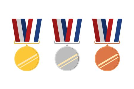 Award icons. Web site. Set of golden, silver and bronze medals. Vector illustration