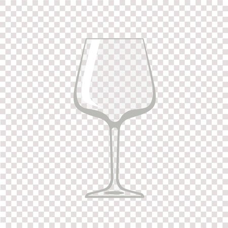 Copa de vino. Copa de vino vacía transparente. Ilustración vectorial