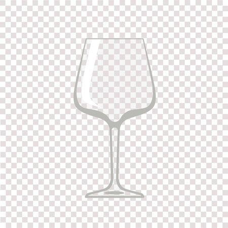 Lampka wina. Przezroczysty pusty kieliszek do wina. Ilustracja wektorowa