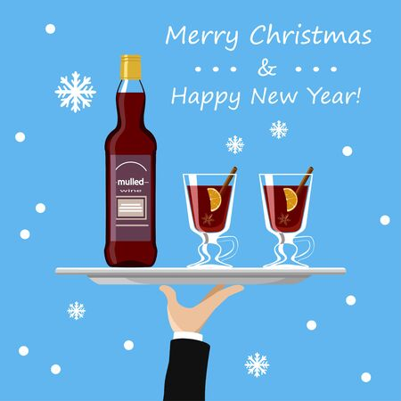 Mulled wine bottle and glass on tray on blue background. Vector illustration