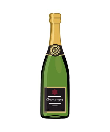 Champagne bottle isolated on white background. Vector illustration
