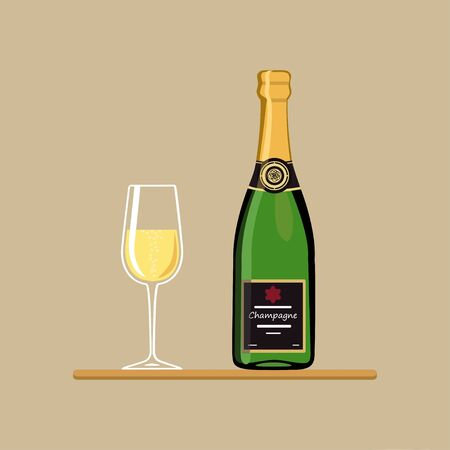 Champagne bottle with wine glass on tray. Vector illustration