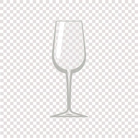 Wine glass. Transparent empty wine glass. Vector illustration
