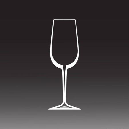Wine glass. Empty wine glass silhouette. Vector illustration Ilustracja
