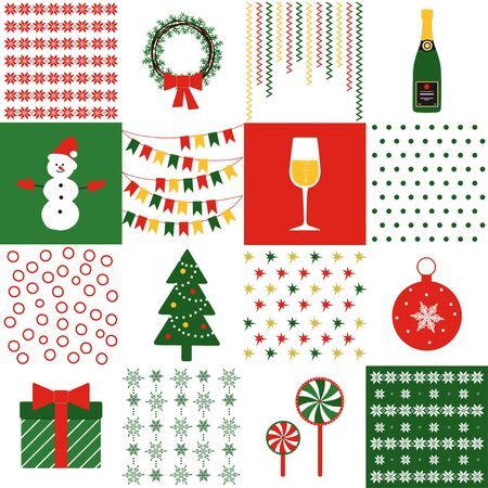 Christmas. Set of Christmas items with festive ornament. Vector illustration