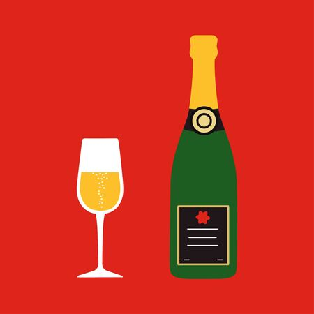 Christmas. Champagne bottle with wine glass on red background. Vector illustration
