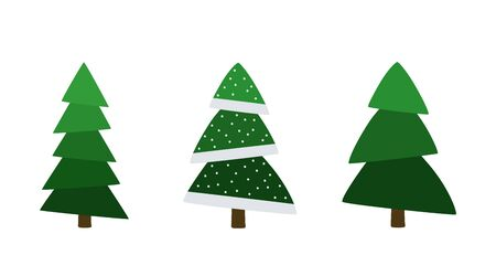 Christmas. Set of Christmas trees with festive decoration. Vector illustration