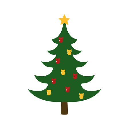 Christmas trees with festive decoration.Isolated on white background. Vector illustration