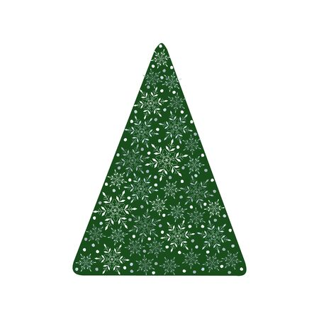 Christmas tree decorated with snowflakes. Isolated on white background. Vector illustration