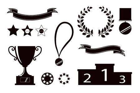 Award icons. Web site. Set of silhouettes of trophy cups, ribbons, stars, laurel wreath, winners podium. Vector illustration Illusztráció