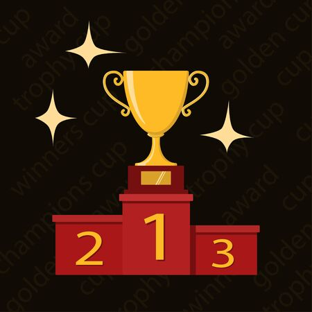 Award icons. Web site. Trophy cup on winner pedestal on dark background. Vector illustration