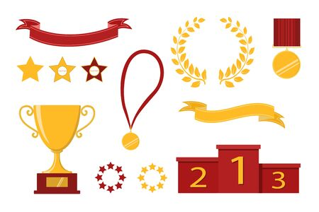 Award icons. Web site. Set of trophy cups, ribbons, stars, laurel wreath, winners podium. Vector illustration