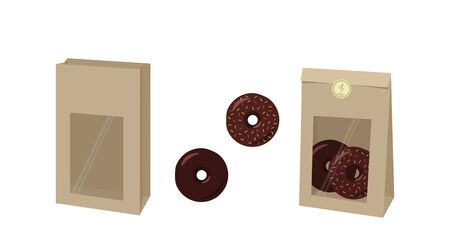 Packaging. Open empty bag of kraft paper and closed bag with donuts. Vector illustration