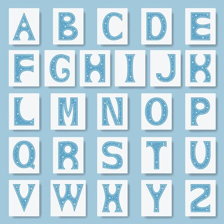 Alphabet letters. Font for winter alphabet decorated with snowflakes. Vector illustration