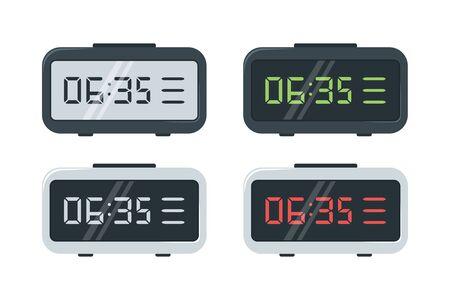 Digitale horloges. Set elektronische horloges met verschillende wijzerplaten. vector illustratie
