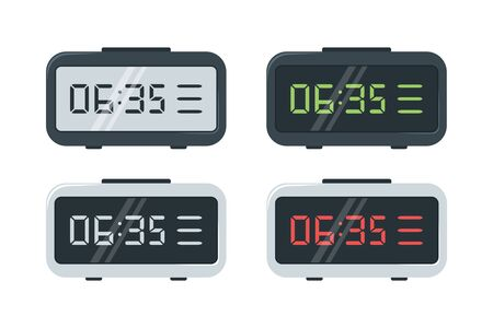 Montres numériques. Ensemble de montres électroniques avec différents cadrans. Illustration vectorielle