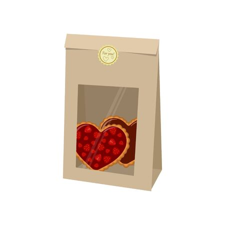 Valentines day. Bag of kraft paper with cookies on white background. Vector illustration
