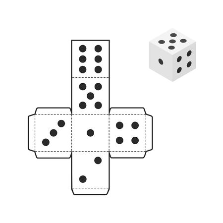 Printable dice template isolated on white background. Vector illustration