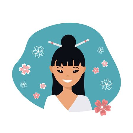 Cute young japanese woman in flat style. Vector illustration