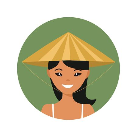 User icon of young vietnamese woman in flat style. Vector illustration