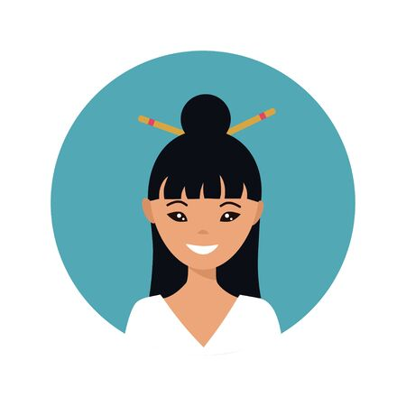 User icon of young japanese woman in flat style. Vector illustration