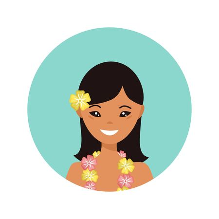 User icon of hawaiian young woman in flat style. Vector illustration