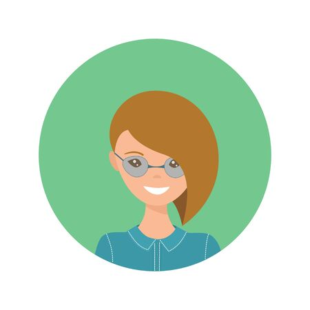 User icon of young woman in flat style. Vector illustration