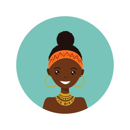 User icon of african young woman in flat style. Vector illustration