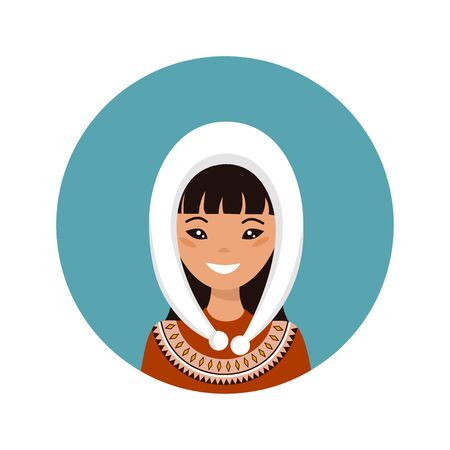 User icon of young Alaska woman in flat style. Vector illustration