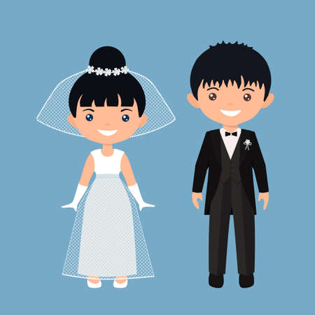 Cute chibi characters boy and girl in wedding suits. Flat cartoon style. Vector illustration