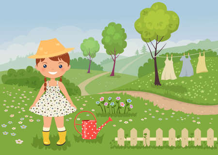 Chibi girl character in rustic dress on rural landscape background. Aesthetics of cottagecore lifestyle. Vector illustration