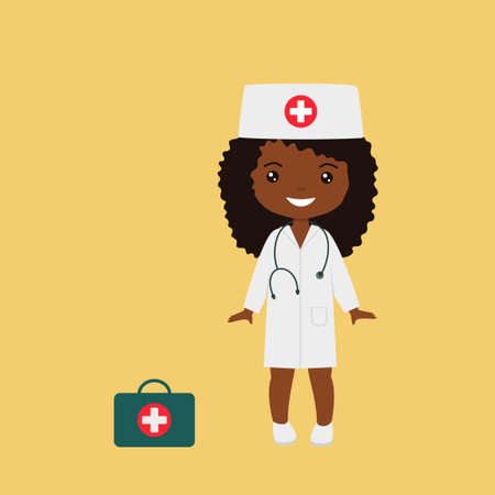 Professions for children. Cute chibi character girl in medical suit. Flat cartoon style. Vector illustration