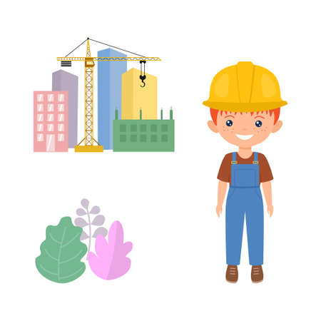 Cute character chibi boy in workwear. Professions for kids. Flat cartoon style. Vector illustration