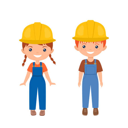 Cute characters chibi boy and girl in workwear. Professions for kids. Flat cartoon style. Vector illustration