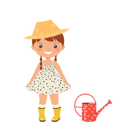 Chibi girl character in rustic dress and rubber boots. Isolated on white background. Aesthetics of cottagecore lifestyle. Vector illustration