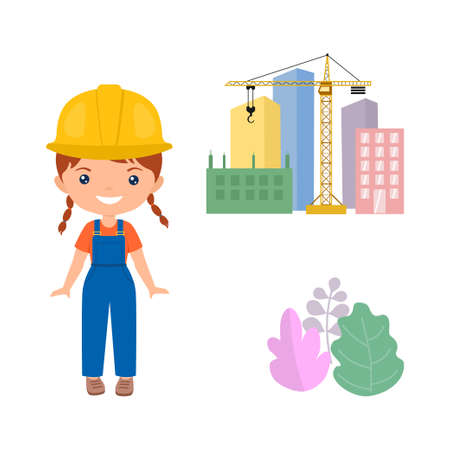 Cute character chibi girl in workwear. Professions for kids. Flat cartoon style. Vector illustration