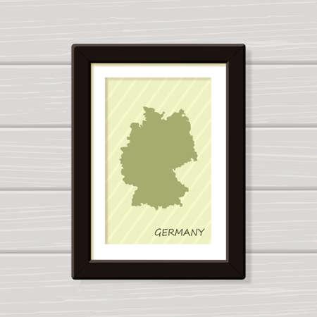 Germany poster print for wall art. Framed Map for home decor. Vector illustration