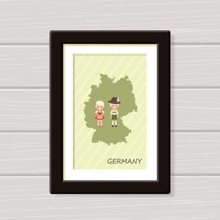 Germany poster with people in national costume.Wall art. Framed map for wall decor. Vector illustration