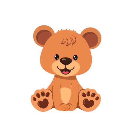 Cute teddy bear boy isolated on white background. Vector illustration