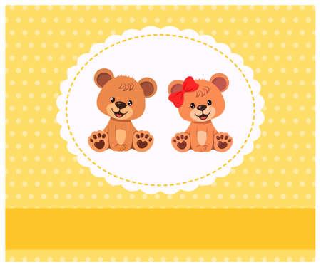 Cute teddy bear in frame on wall. Home decor for nursery room. Vector illustration