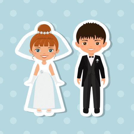 Sticker of wedding couple on blue background. Flat cartoon style 向量圖像