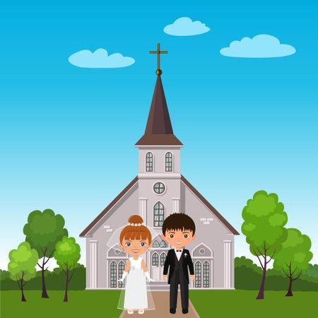 Wedding couple on background of church. Cartoon flat style