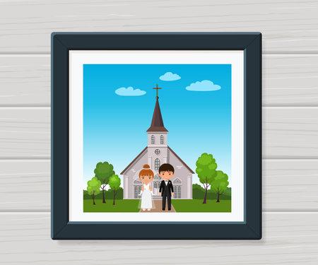 Wedding couple. Newlyweds in frame on background of church. Cartoon flat style