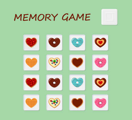 Memory game. Developing puzzle for kids and adults . Flat cartoon style