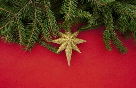 Texture and background for New Year and Christmas.Golden star and Christmas tree branches on a red background. Stock Photo